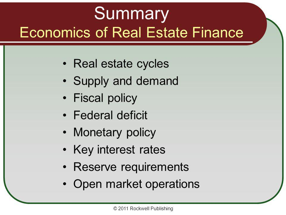 Summary Economics of Real Estate Finance