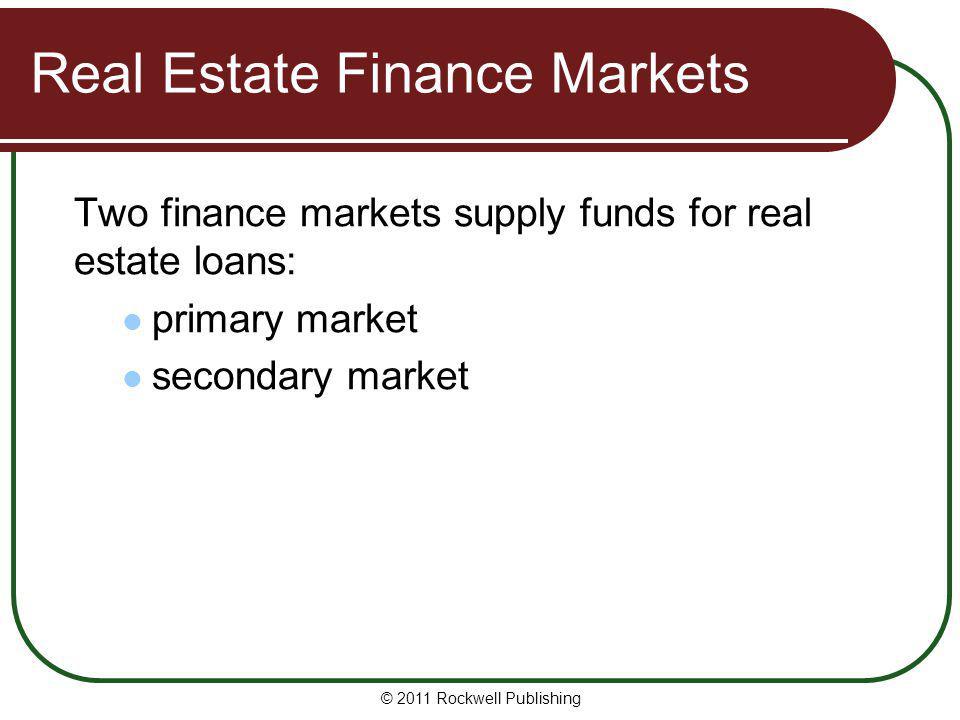 Real Estate Finance Markets