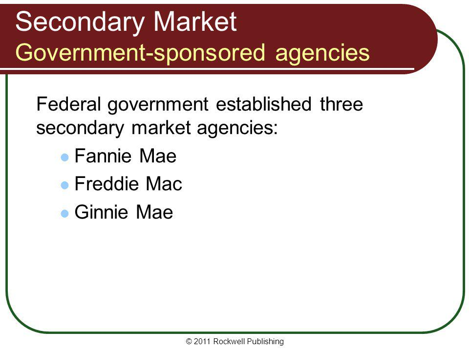 Secondary Market Government-sponsored agencies