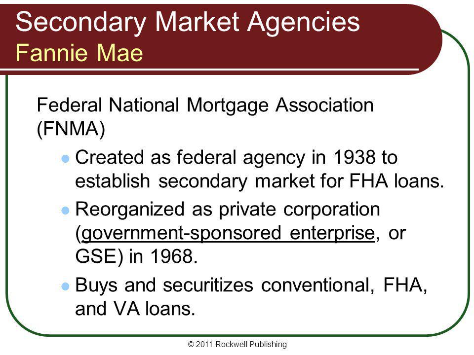 Secondary Market Agencies Fannie Mae