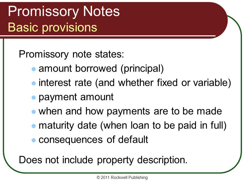 Promissory Notes Basic provisions