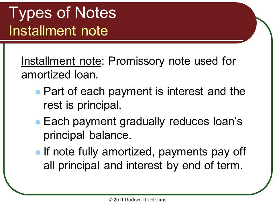 Types of Notes Installment note