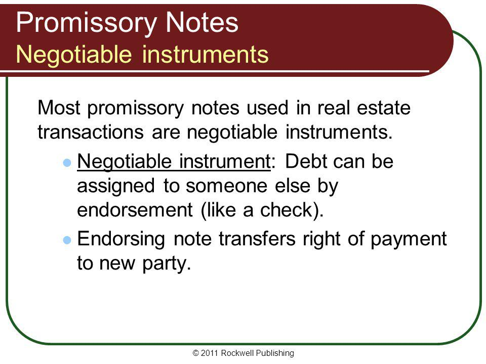 Promissory Notes Negotiable instruments