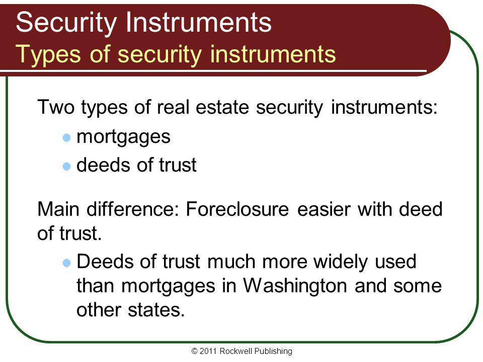 Security Instruments Types of security instruments