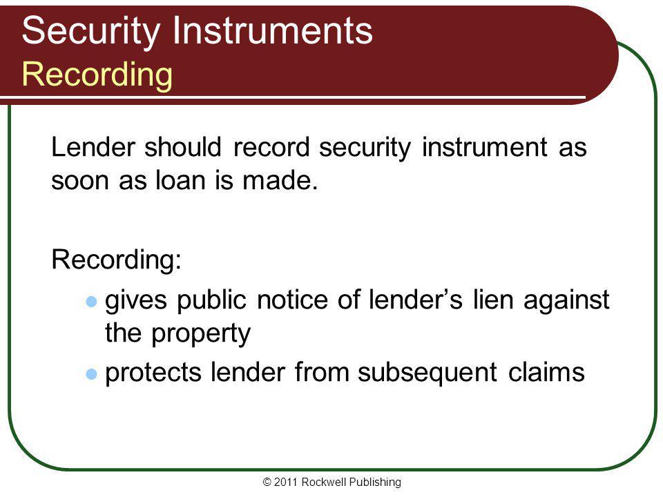 Security Instruments Recording