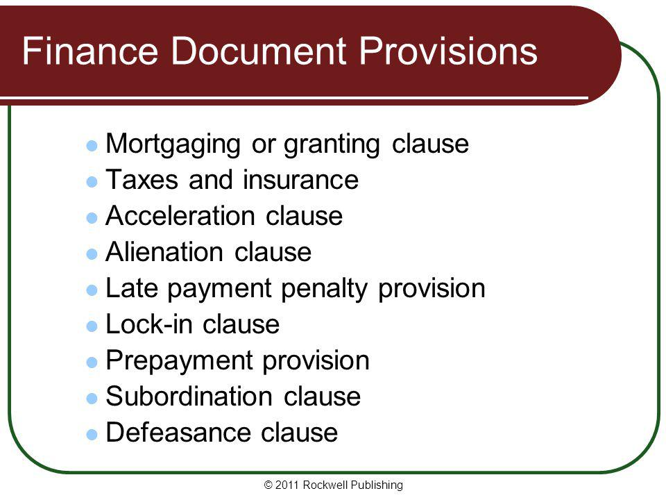 Finance Document Provisions