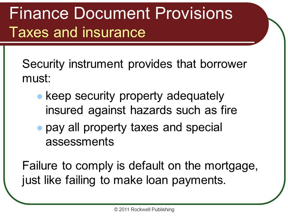 Finance Document Provisions Taxes and insurance