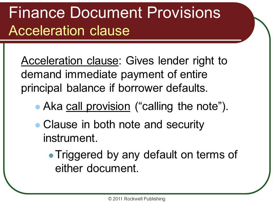 Finance Document Provisions Acceleration clause