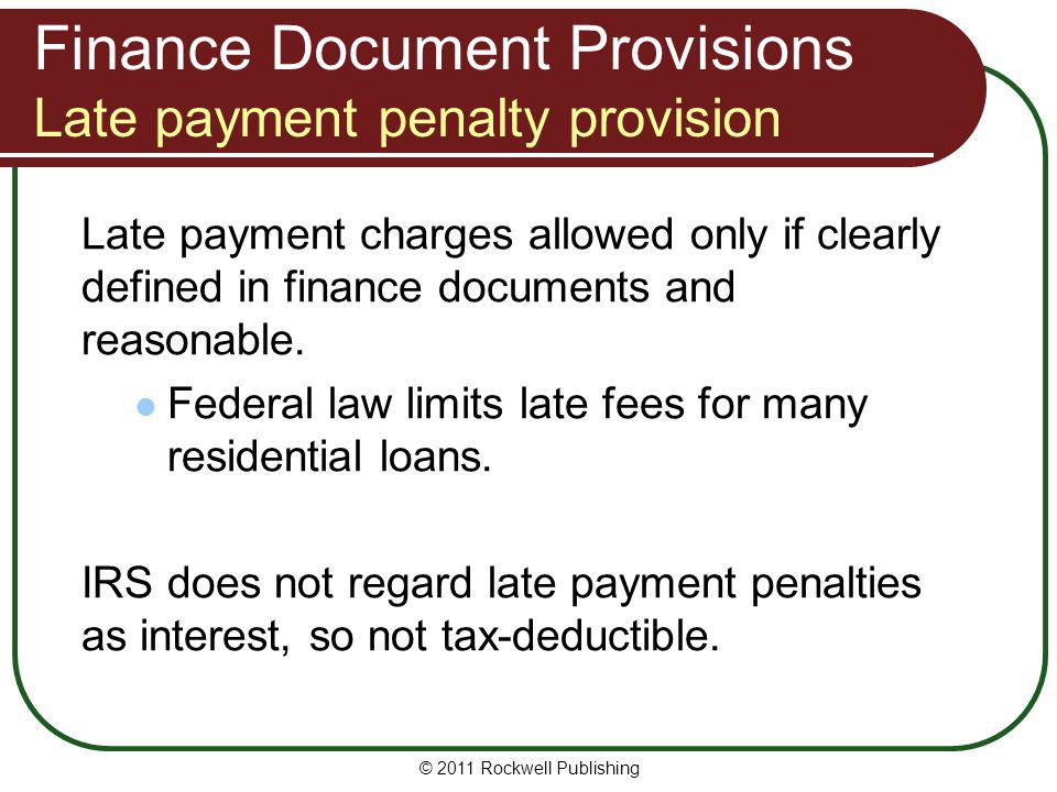 Finance Document Provisions Late payment penalty provision