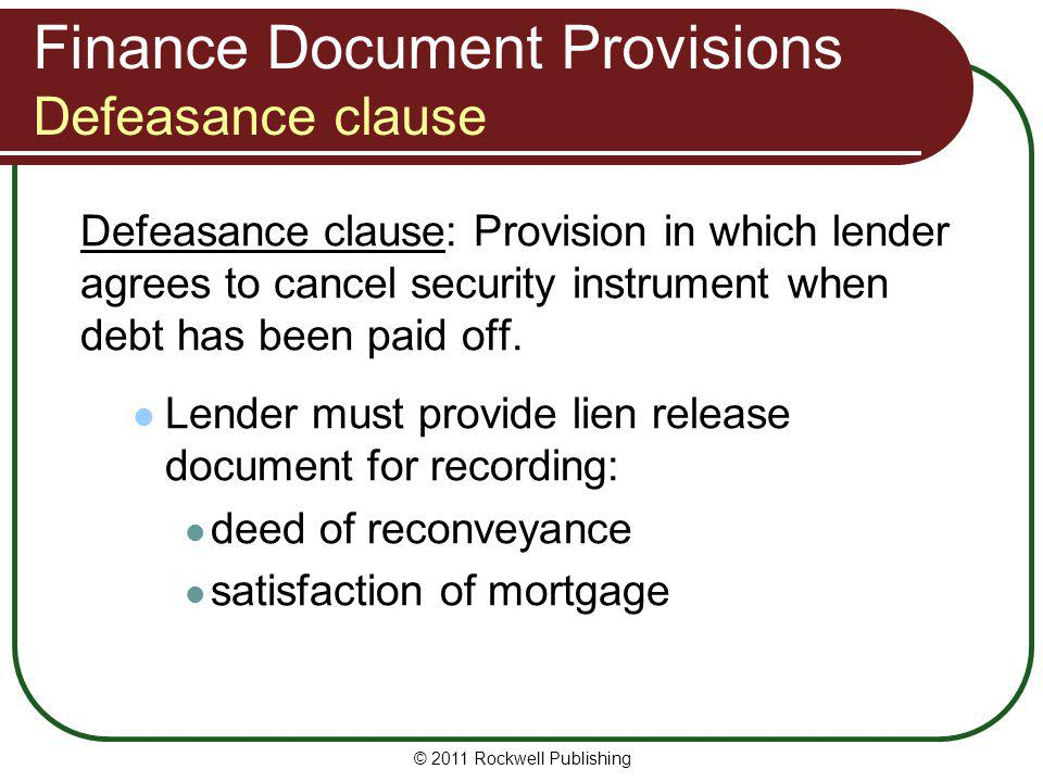 Finance Document Provisions Defeasance clause