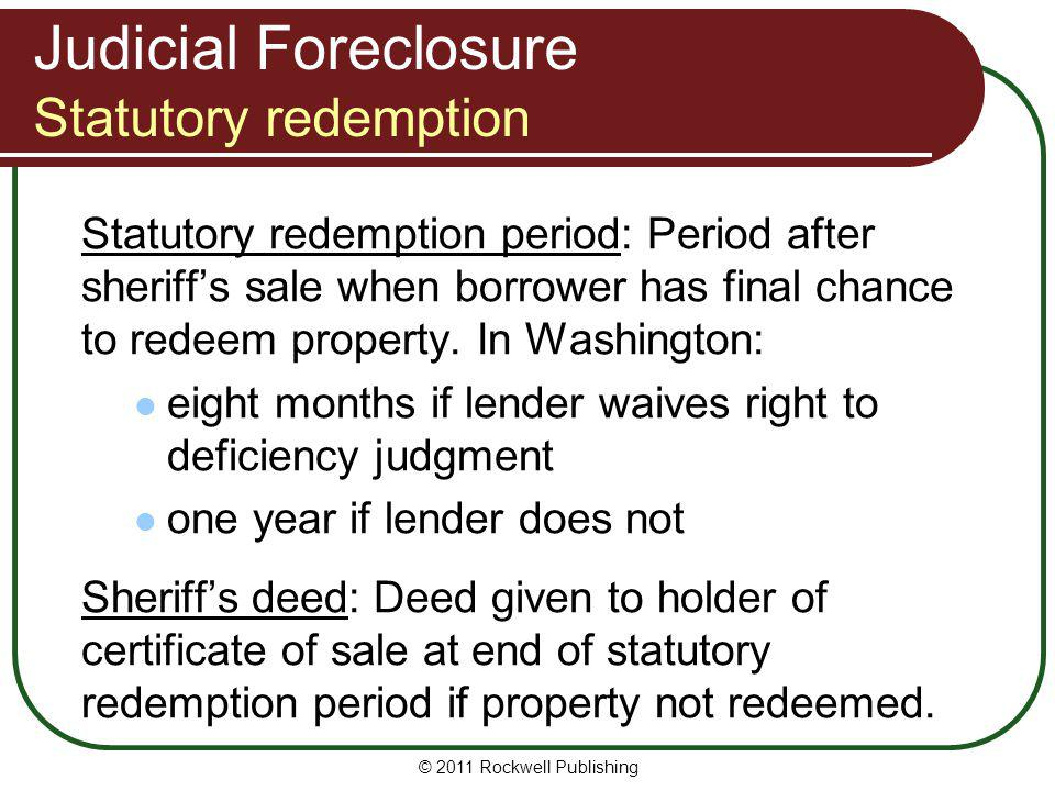 Judicial Foreclosure Statutory redemption