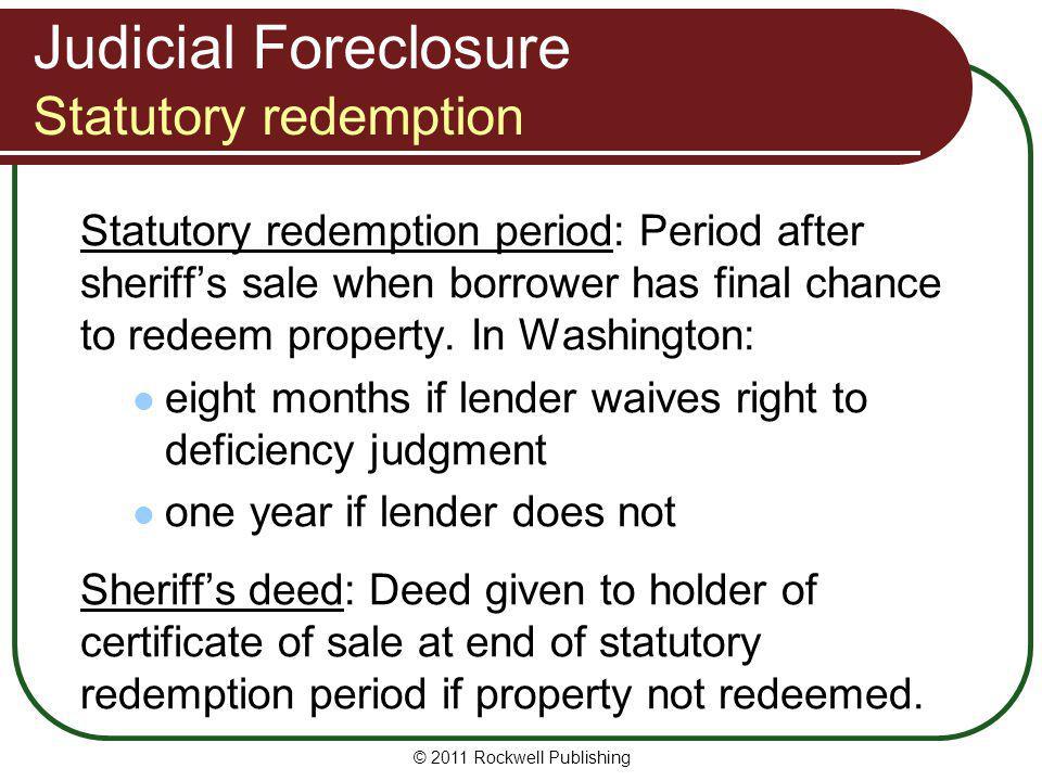 Judicial Foreclosure Statutory redemption