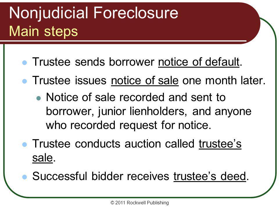 Nonjudicial Foreclosure Main steps
