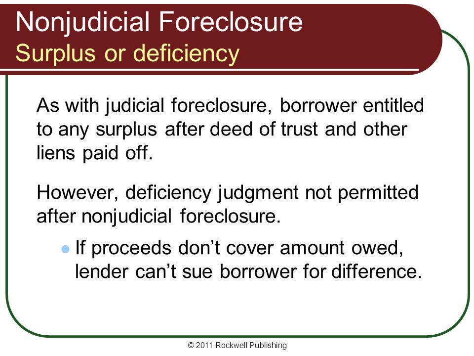Nonjudicial Foreclosure Surplus or deficiency