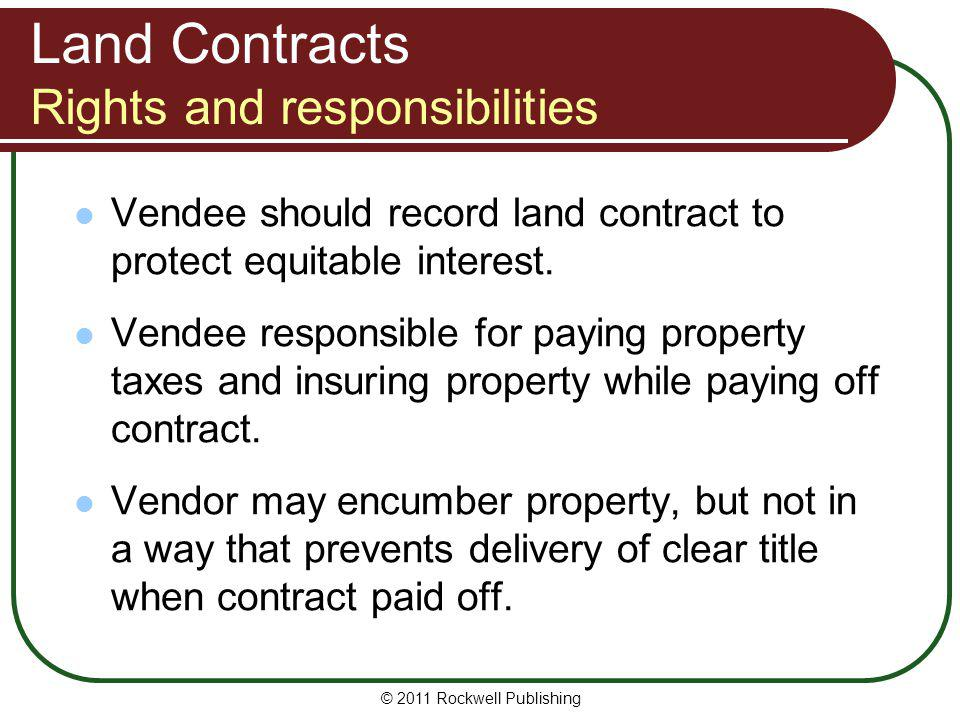 Land Contracts Rights and responsibilities
