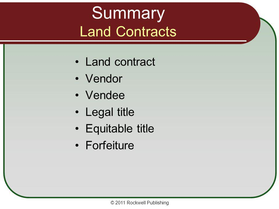 Summary Land Contracts