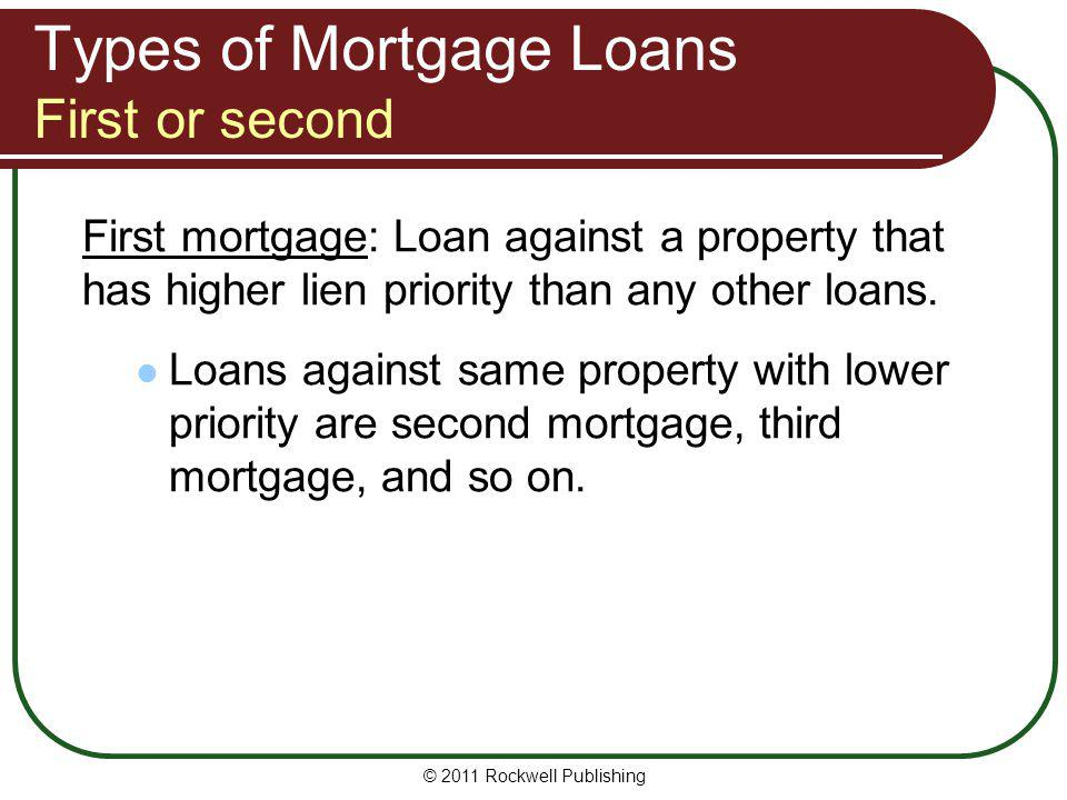 Types of Mortgage Loans First or second