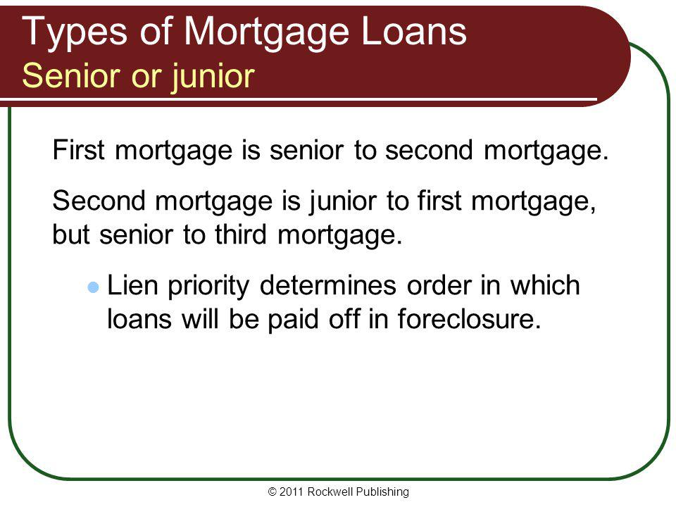 Types of Mortgage Loans Senior or junior