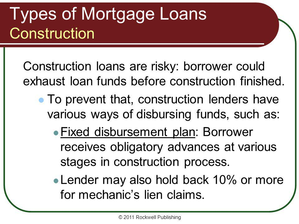Types of Mortgage Loans Construction