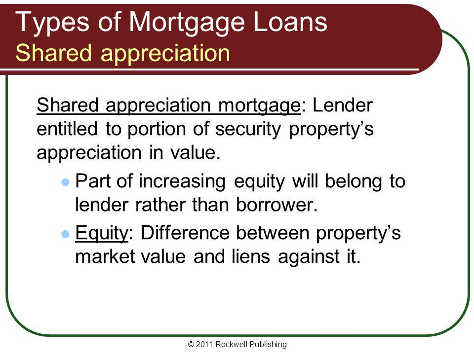 Types of Mortgage Loans Shared appreciation