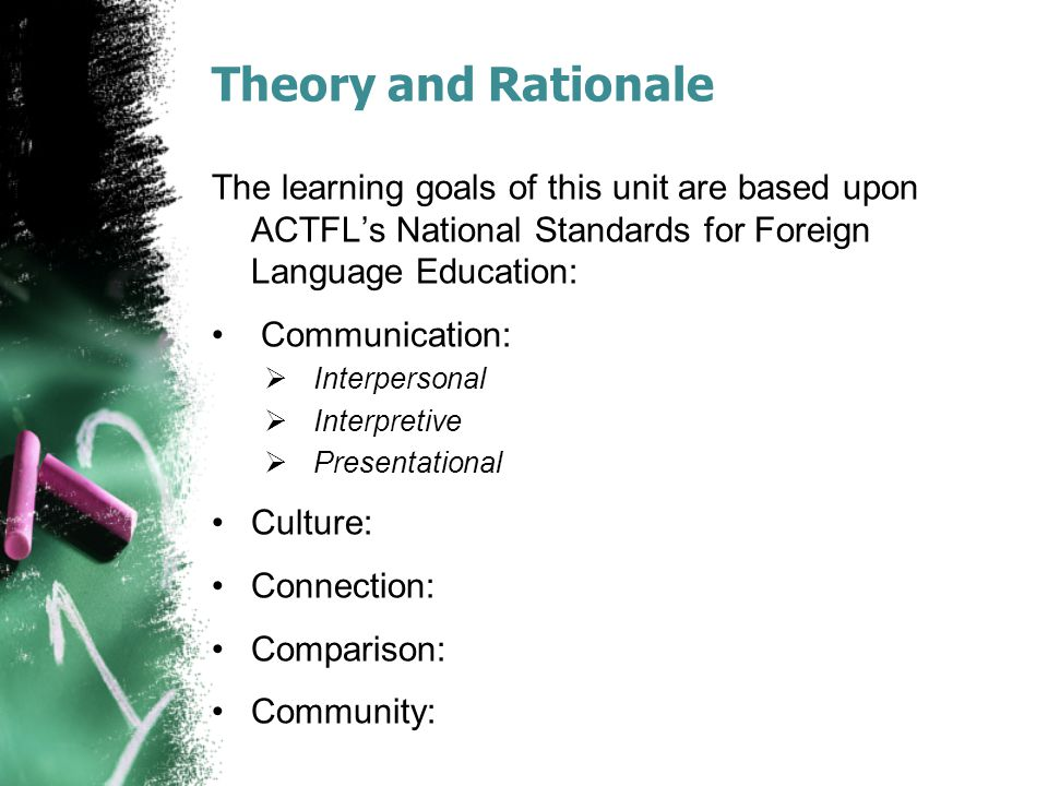 Theory and Rationale The learning goals of this unit are based upon ACTFL's National Standards for Foreign Language Education: