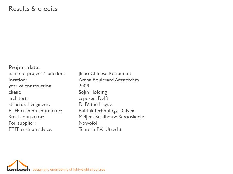 Results & credits Project data: