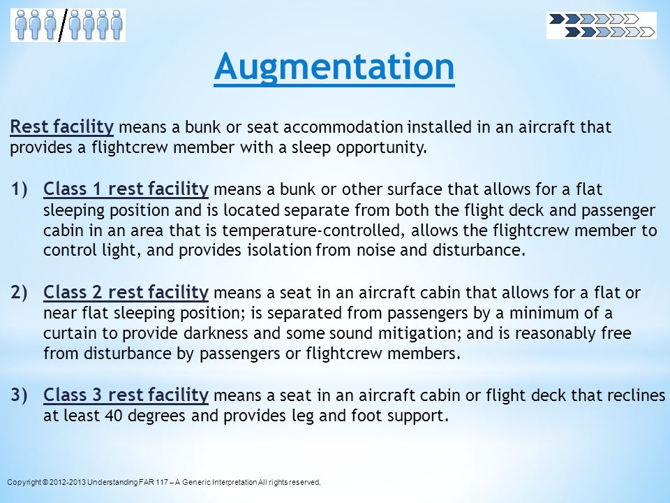 Augmentation Rest facility means a bunk or seat accommodation installed in an aircraft that provides a flightcrew member with a sleep opportunity.