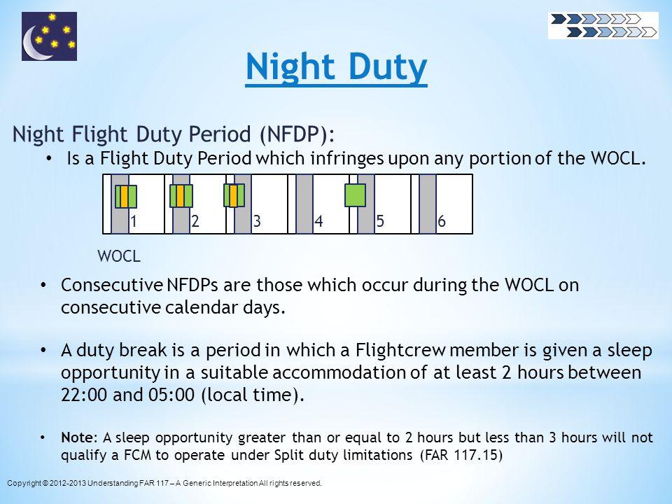 Night Duty Night Flight Duty Period (NFDP):