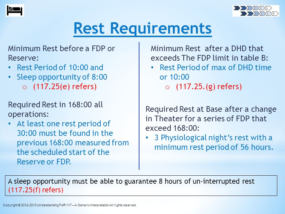Rest Requirements Minimum Rest before a FDP or Reserve: