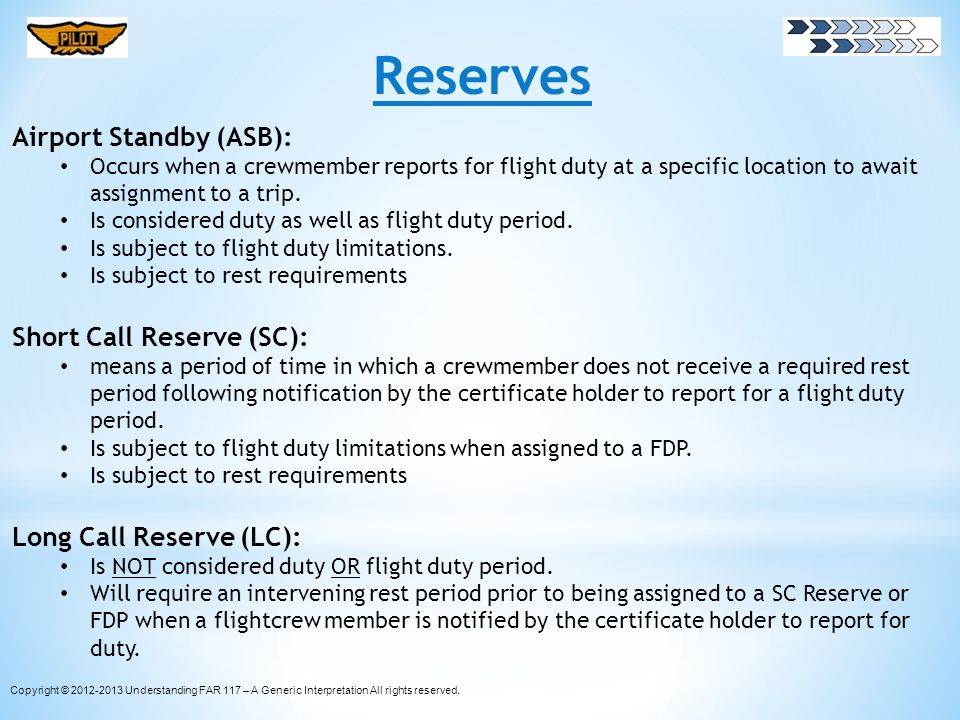 Reserves Airport Standby (ASB): Short Call Reserve (SC):