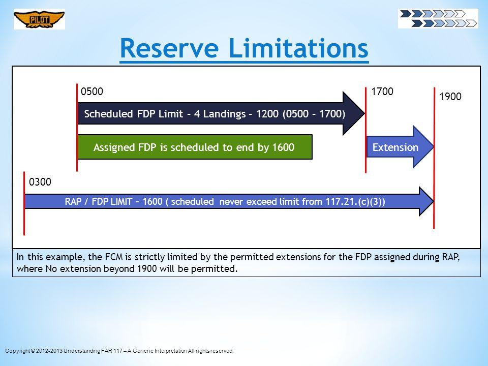 Reserve Limitations 0500. 1700. 1900. Scheduled FDP Limit – 4 Landings – 1200 (0500 – 1700) Extension.