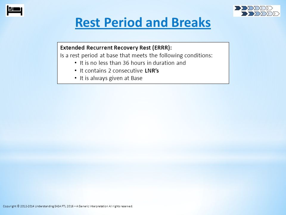 Rest Period and Breaks Extended Recurrent Recovery Rest (ERRR):