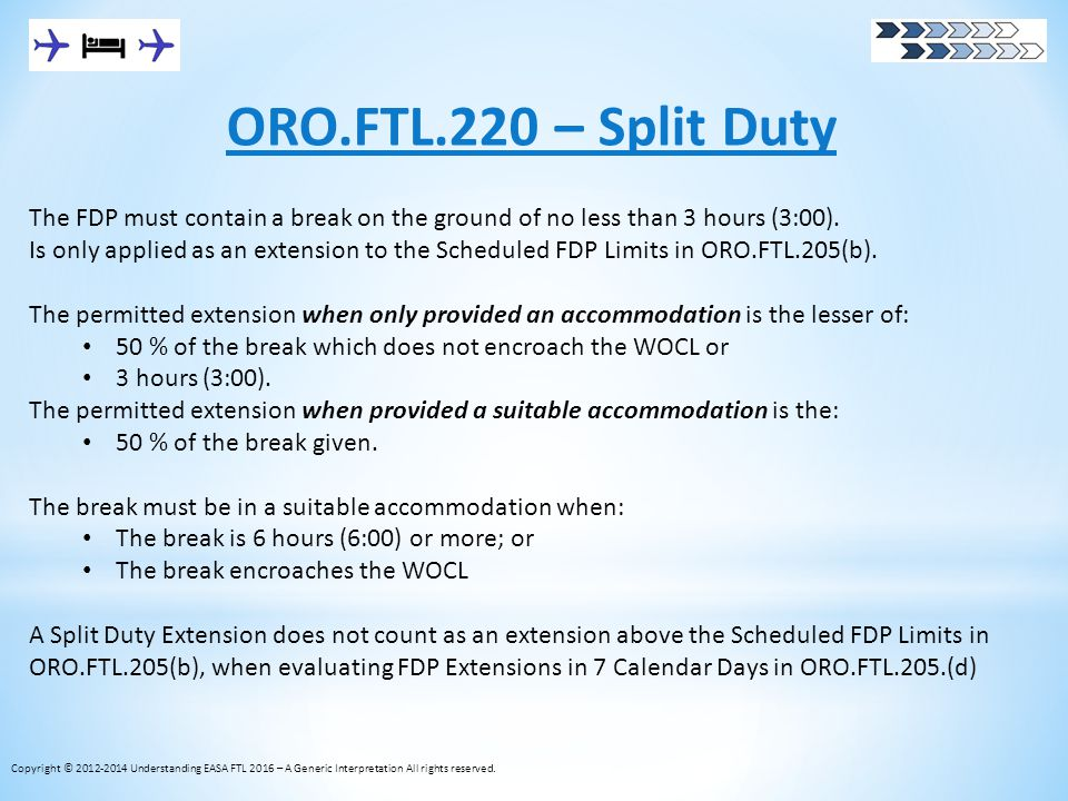 ORO.FTL.220 – Split Duty The FDP must contain a break on the ground of no less than 3 hours (3:00).