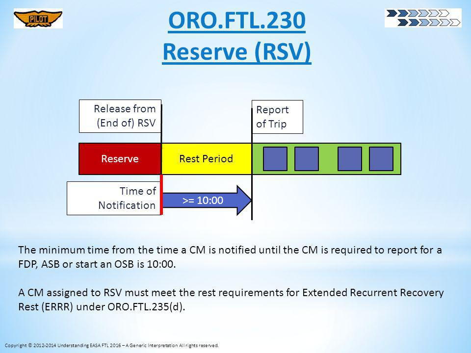 ORO.FTL.230 Reserve (RSV) Release from (End of) RSV Report of Trip
