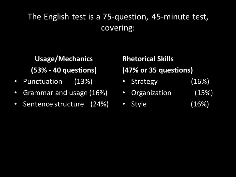 The English test is a 75-question, 45-minute test, covering: