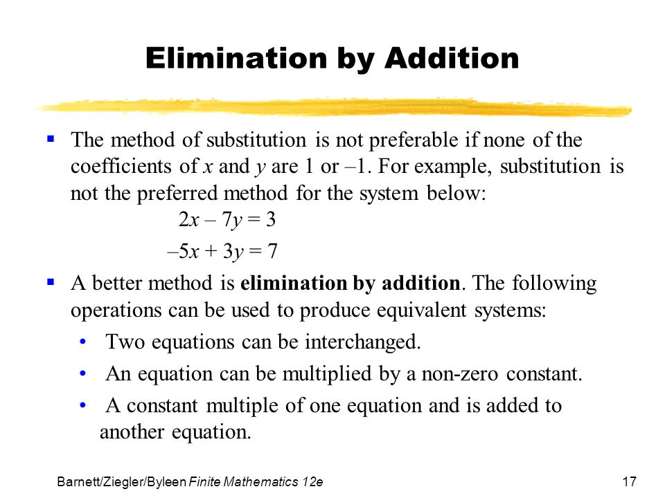 Elimination by Addition