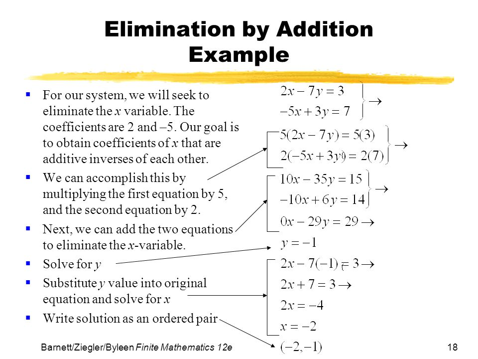 Elimination by Addition Example