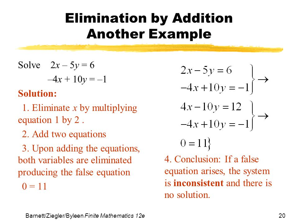 Elimination by Addition Another Example