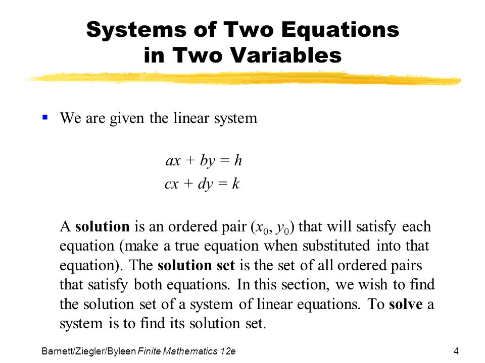 Systems of Two Equations in Two Variables