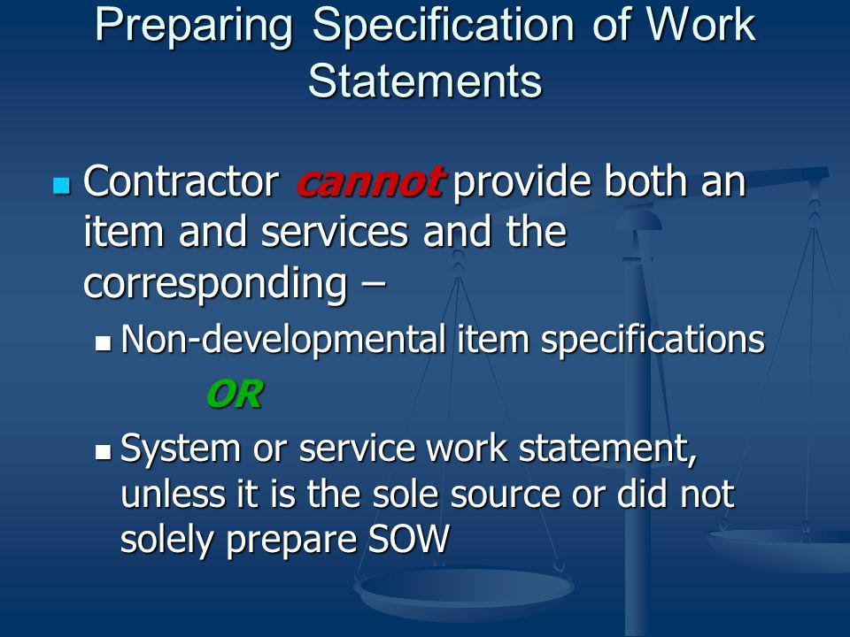 Preparing Specification of Work Statements
