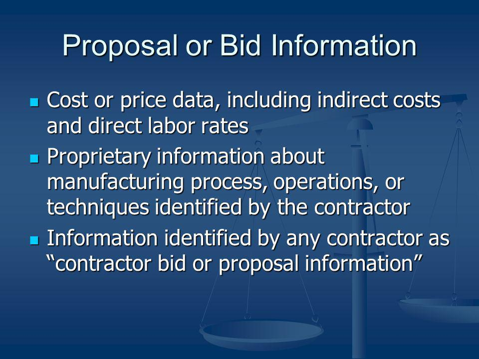 Proposal or Bid Information