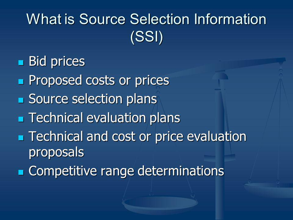 What is Source Selection Information (SSI)