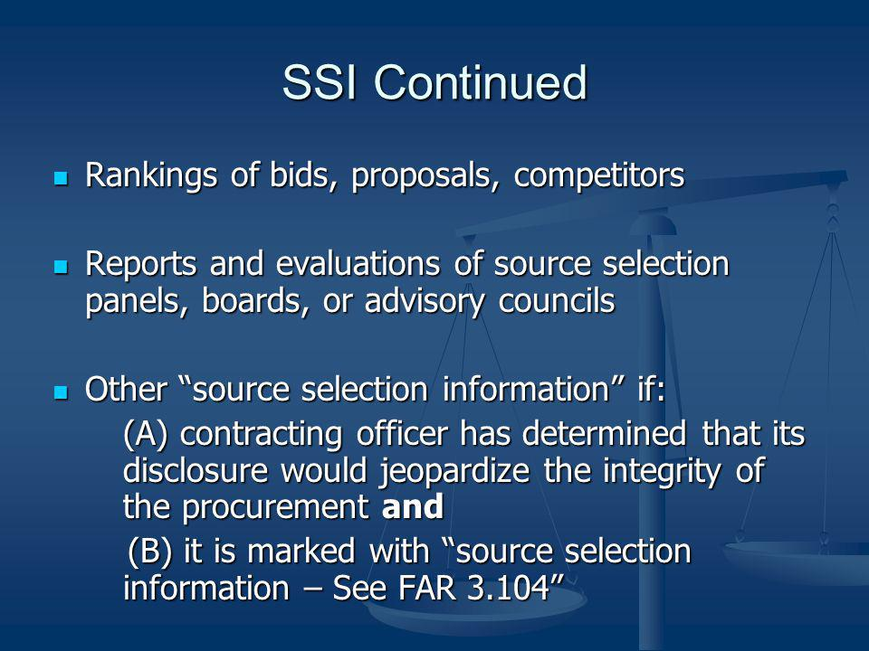 SSI Continued Rankings of bids, proposals, competitors