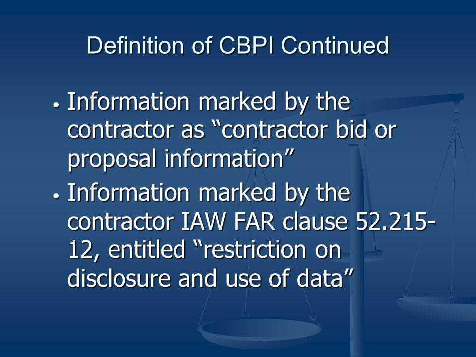 Definition of CBPI Continued