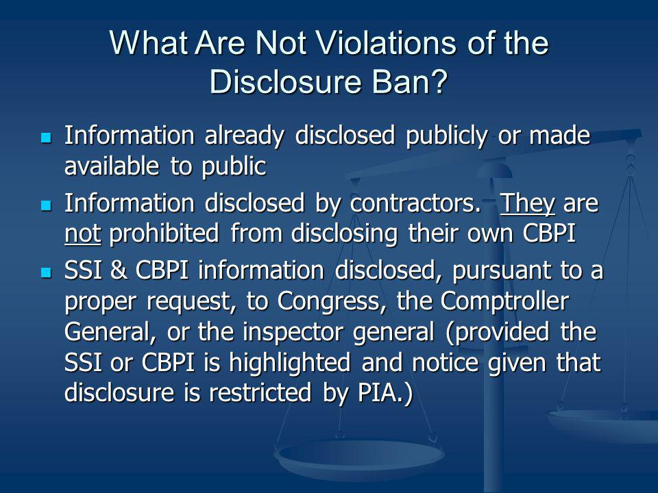 What Are Not Violations of the Disclosure Ban