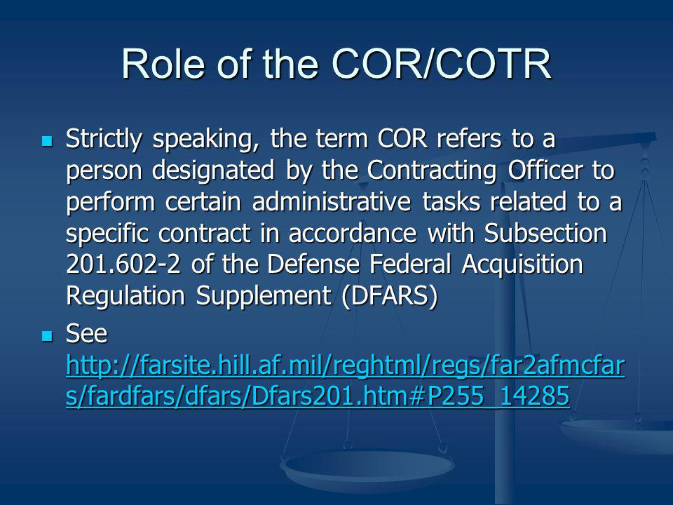 Role of the COR/COTR