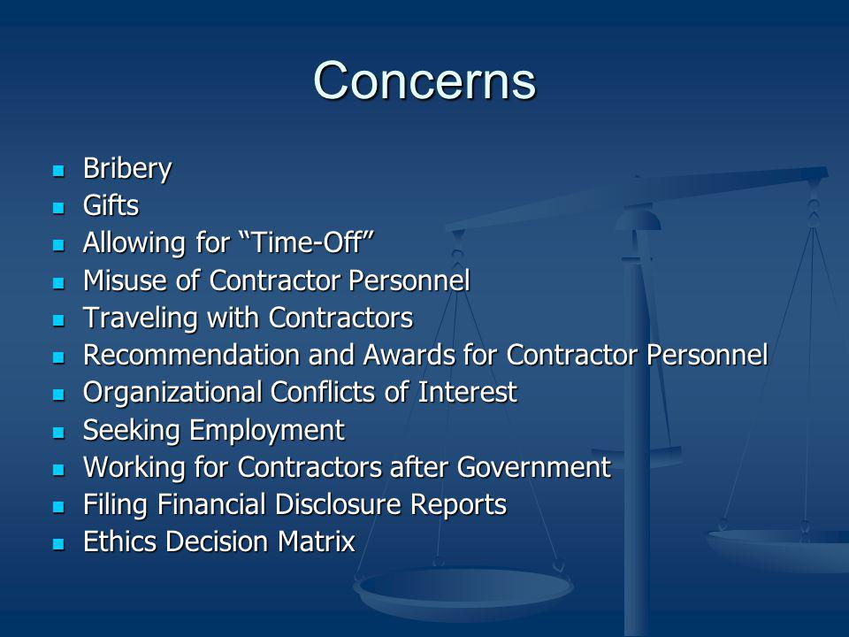 Concerns Bribery Gifts Allowing for Time-Off