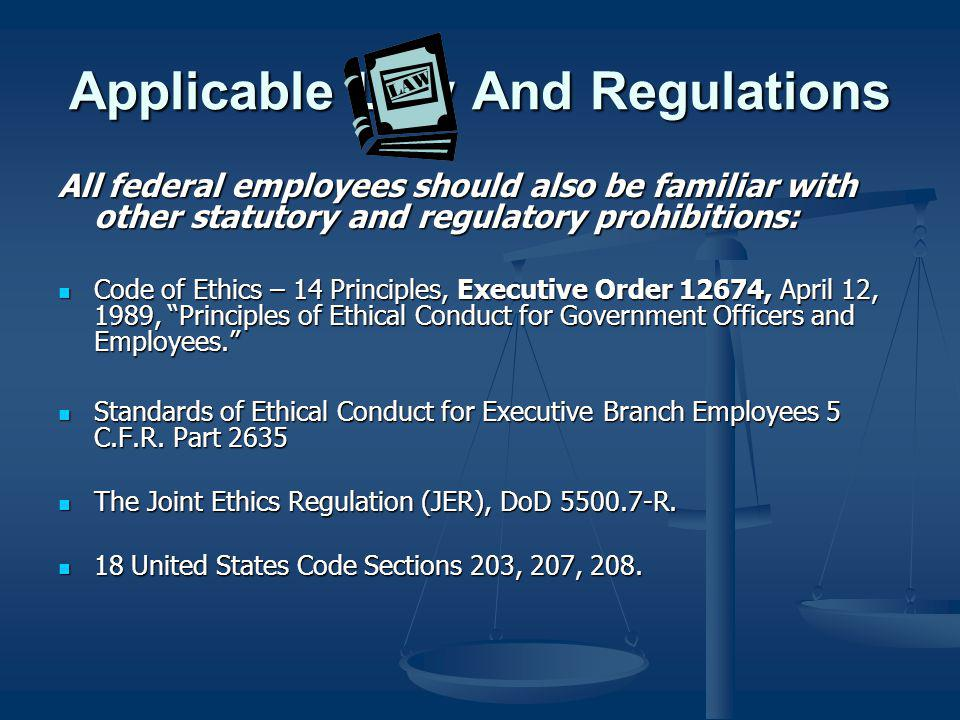 Applicable Law And Regulations