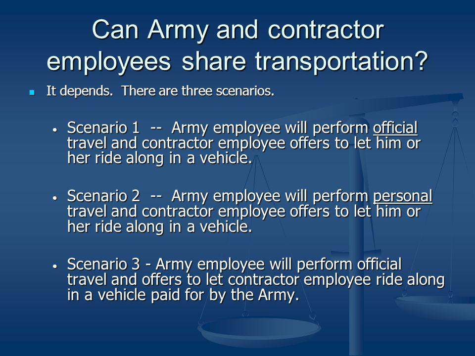 Can Army and contractor employees share transportation