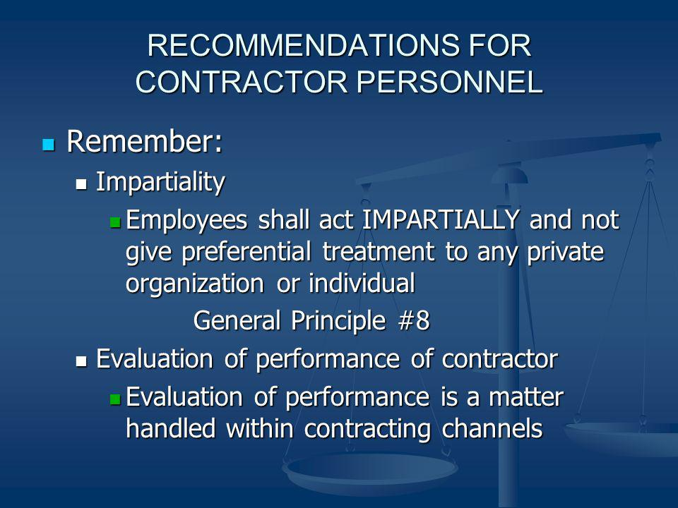 RECOMMENDATIONS FOR CONTRACTOR PERSONNEL